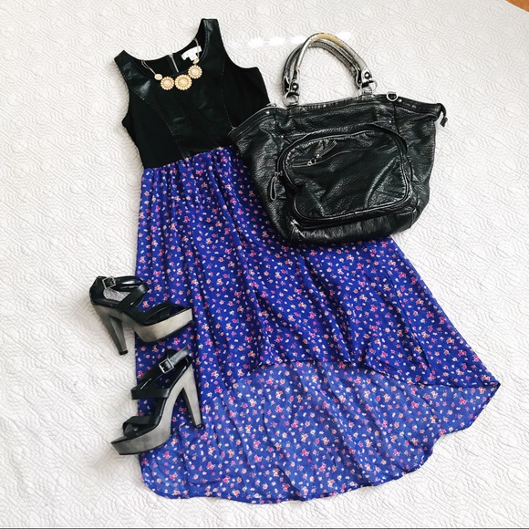 Xhilaration Dresses & Skirts - Pleather Bodice Floral High Low Dress